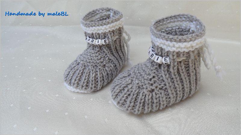- Babyschuhe für Neugeborene gestrickt, Wolle (Merino) mit Namen - Babyschuhe für Neugeborene gestrickt, Wolle (Merino) mit Namen
