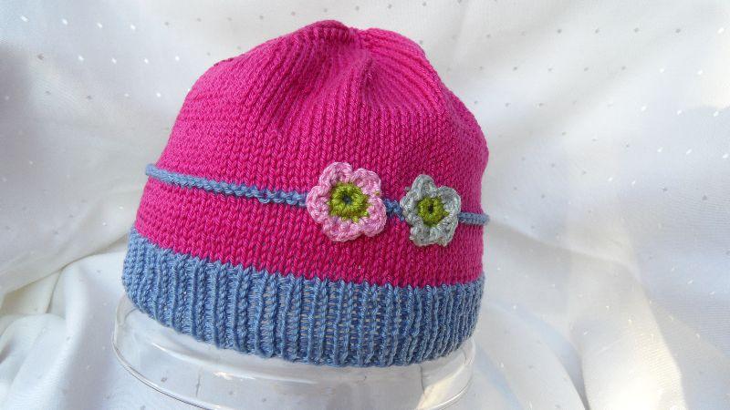 - Kindermütze, Mädchen-Mütze aus Baumwolle, handgestrickt  - Kindermütze, Mädchen-Mütze aus Baumwolle, handgestrickt