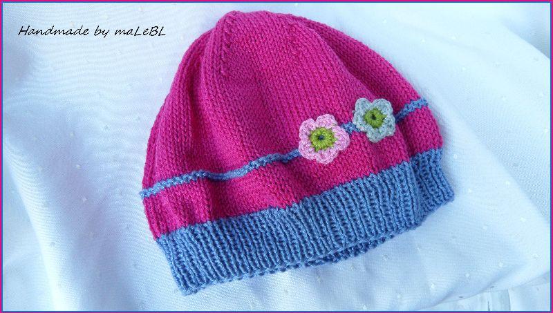 Kleinesbild - Kindermütze, Mädchen-Mütze aus Baumwolle, handgestrickt