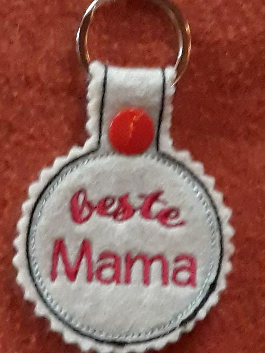 - Schlüsselanhänger,  Taschenbaumler, Filz, beste Mama - Schlüsselanhänger,  Taschenbaumler, Filz, beste Mama