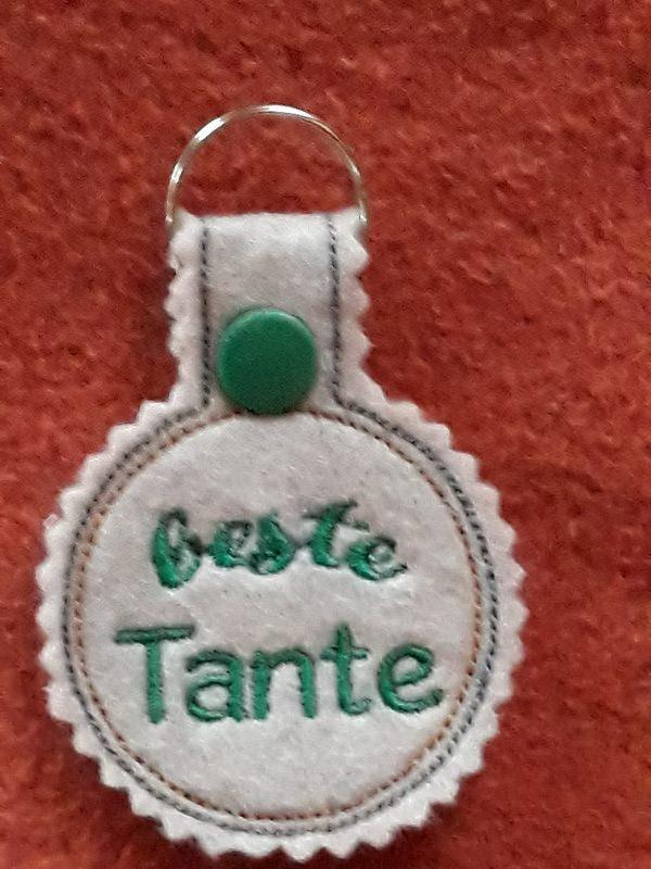 - Schlüsselanhänger,  Taschenbaumler, Filz, beste Tante - Schlüsselanhänger,  Taschenbaumler, Filz, beste Tante