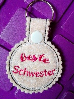 - Schlüsselanhänger,  Taschenbaumler, Filz, beste Schwester - Schlüsselanhänger,  Taschenbaumler, Filz, beste Schwester