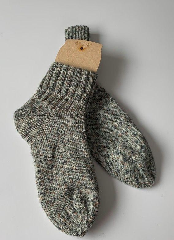Kleinesbild - Handgestrickte Herrensocken in grau neliert (147) Wollsocken Grösse 44-45