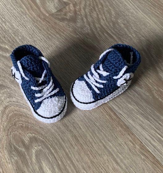 - Babyturnschuhe - gehäkelte Babyturnschuhe in jeansblau mit schwarz (18) - Babyturnschuhe - gehäkelte Babyturnschuhe in jeansblau mit schwarz (18)