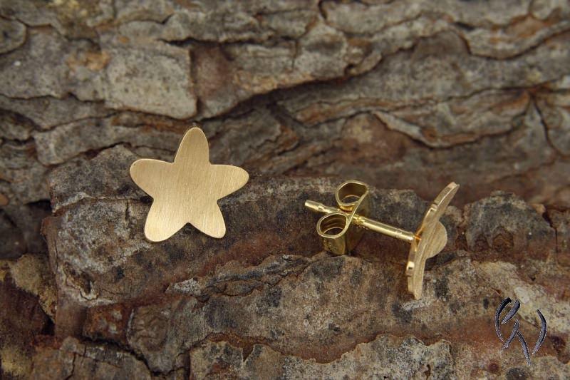 Kleinesbild - Ohrstecker Gold 750/-, Gänseblümchen, strichmatt