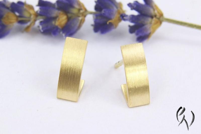 - Kleine Ohrstecker aus Gold 750/-, kleine Streifen, strichmatt - Kleine Ohrstecker aus Gold 750/-, kleine Streifen, strichmatt