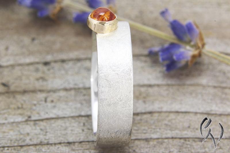 Kleinesbild - Schöner Ring aus Silber 925/- , mit Mandaringranat