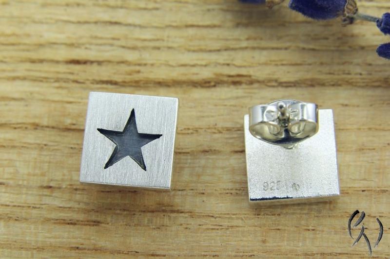 Für Weihnachten Ohrstecker Stern 925 Handarbeit Silberschmiede Mattiert