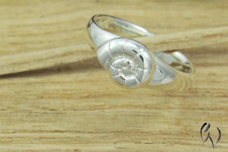 Kleinesbild - Ring Silber 925/- , Ammonit, Damenring Silber, Handarbeit