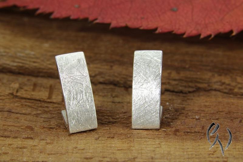 - Handgemachte Ohrstecker Silber 925/-, Nacka, strichmatt - Handgemachte Ohrstecker Silber 925/-, Nacka, strichmatt