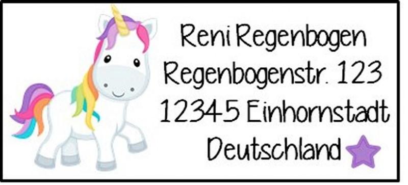 - 40 Adressaufkleber mit Wunschadresse Einhorn bunt - 40 Adressaufkleber mit Wunschadresse Einhorn bunt