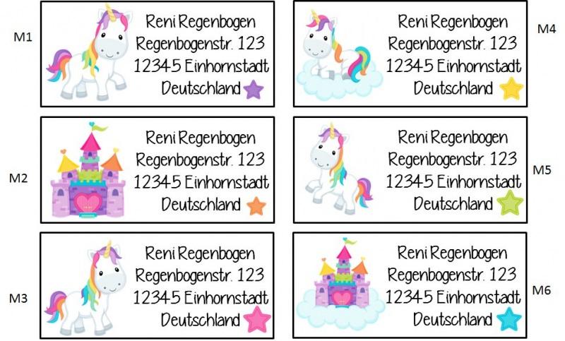 Kleinesbild - 40 Adressaufkleber mit Wunschadresse Einhorn bunt
