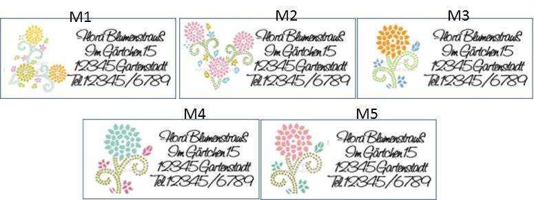 Kleinesbild - 40 Adressaufkleber mit Wunschadresse Blumen Frühling Sommer