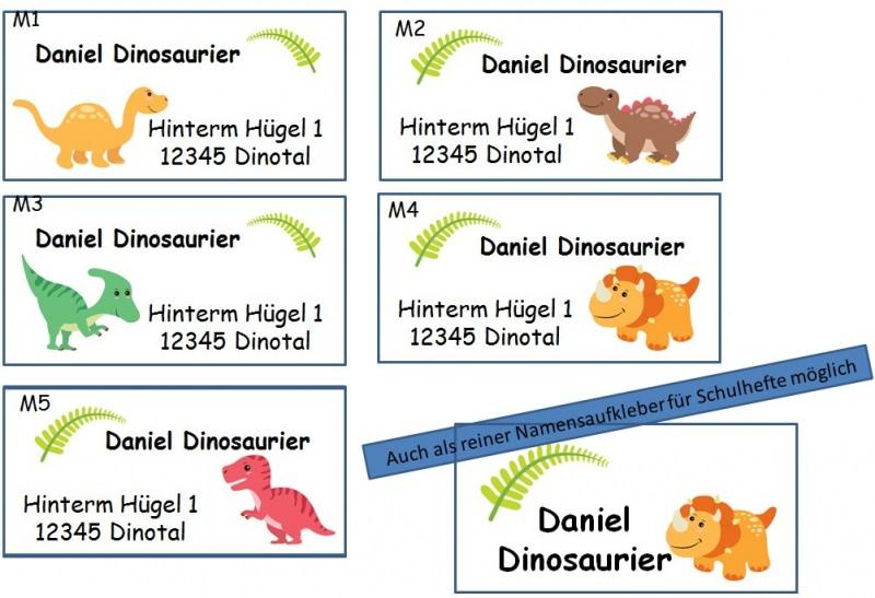 Kleinesbild - 40 Adressaufkleber mit Wunschadresse Dinos Dinosaurier Namensaufkleber Schulaufkleber