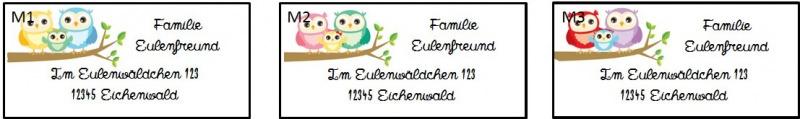 Kleinesbild - 40 Adressaufkleber mit Wunschadresse  Eule Familie auf Ast