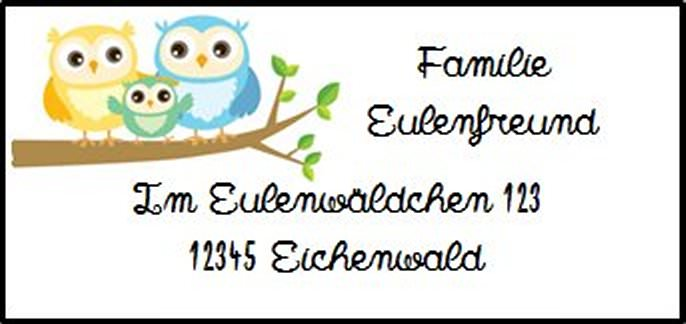 - 40 Adressaufkleber mit Wunschadresse  Eule Familie auf Ast - 40 Adressaufkleber mit Wunschadresse  Eule Familie auf Ast