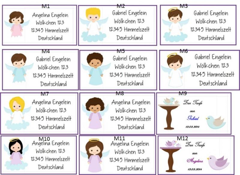 Kleinesbild - 40 Adressaufkleber mit Wunschadresse Engel Kommunion Taufe Weihnachten
