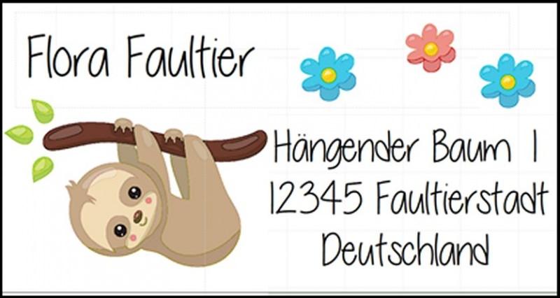 - 40 Adressaufkleber mit Wunschadresse Faultier -  auch als reiner Namensaufkleber möglich - 40 Adressaufkleber mit Wunschadresse Faultier -  auch als reiner Namensaufkleber möglich