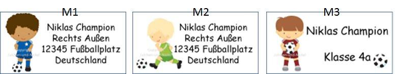 Kleinesbild - 40 Adressaufkleber mit Wunschadresse  Fußball - auch als Schulaufkleber oder Namensaufkleber möglich