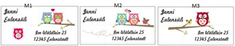 Kleinesbild - 40 Adressaufkleber mit Wunschadresse  Eule auf Ast auch als Namensaufkleber