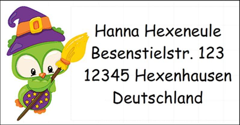 - 40 Adressaufkleber mit Wunschadresse Halloween Hexe Eule - 40 Adressaufkleber mit Wunschadresse Halloween Hexe Eule