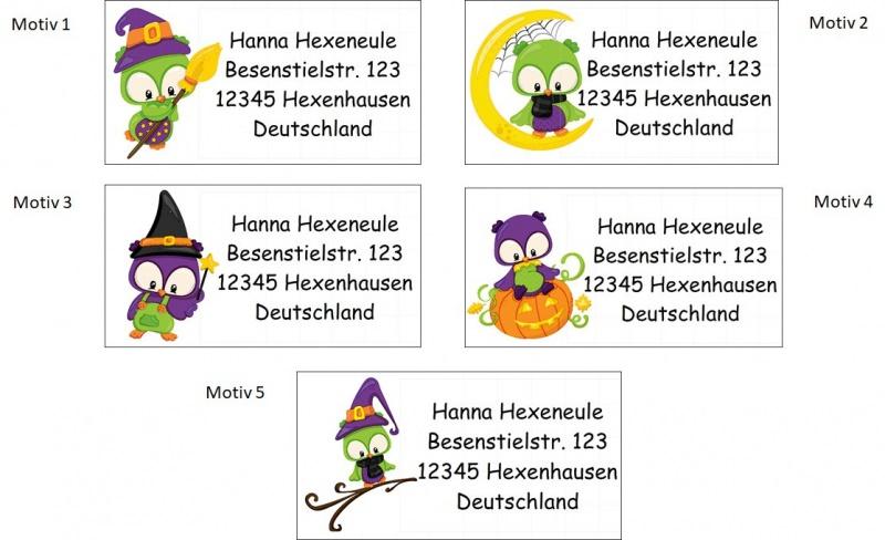 Kleinesbild - 40 Adressaufkleber mit Wunschadresse Halloween Hexe Eule