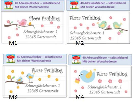 Kleinesbild - 40 Adressaufkleber mit Wunschadresse Frühling Vogel