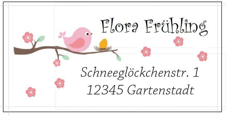 - 40 Adressaufkleber mit Wunschadresse Frühling Vogel  - 40 Adressaufkleber mit Wunschadresse Frühling Vogel