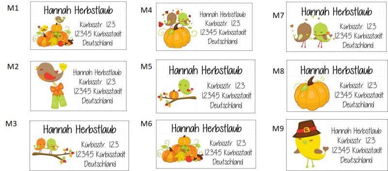 Kleinesbild - 40 Adressaufkleber mit Wunschadresse  Herbst Herbstlaub