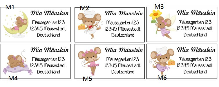 Kleinesbild - 40 Adressaufkleber mit Wunschadresse  Mäuse - auch als Schulaufkleber oder Namensaufkleber möglich