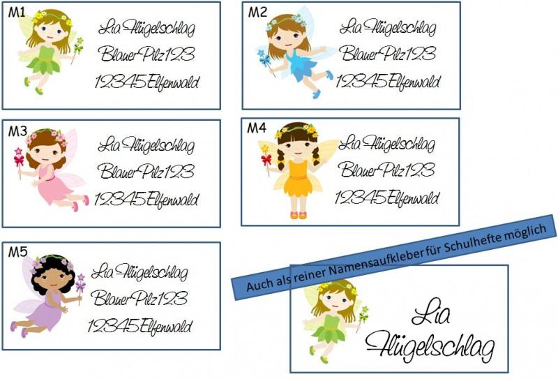 Kleinesbild - 40 Adressaufkleber mit Wunschadresse bunte Fee - auch als Schulaufkleber oder Namensaufkleber möglich