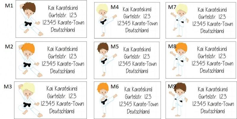 Kleinesbild - 40 Adressaufkleber mit Wunschadresse  Karate Kids auch als Schulaufkleber oder Namensaufkleber