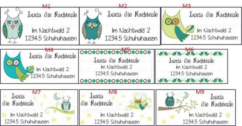 Kleinesbild - 40 Adressaufkleber mit Wunschadresse  Nachteule Eule grün türkis blau