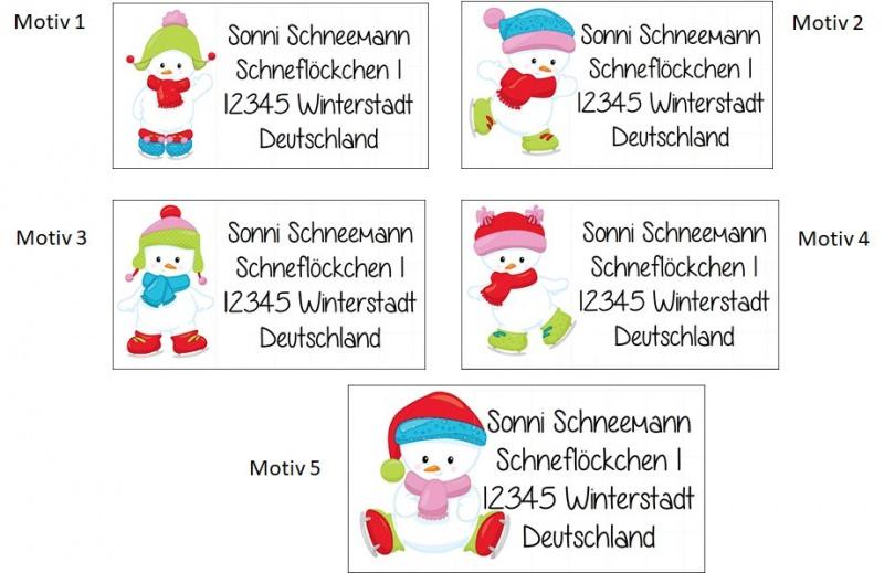 Kleinesbild - 40 Adressaufkleber mit Wunschadresse  Schneemann - für die Weihnachtspost