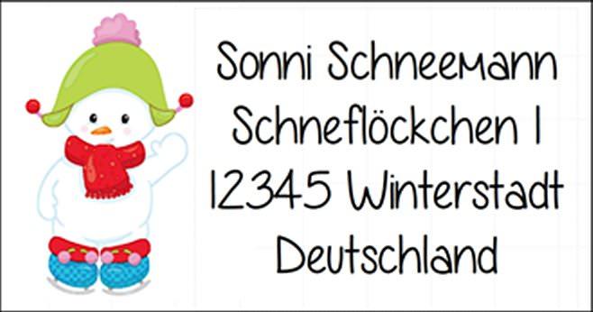 - 40 Adressaufkleber mit Wunschadresse  Schneemann - für die Weihnachtspost - 40 Adressaufkleber mit Wunschadresse  Schneemann - für die Weihnachtspost