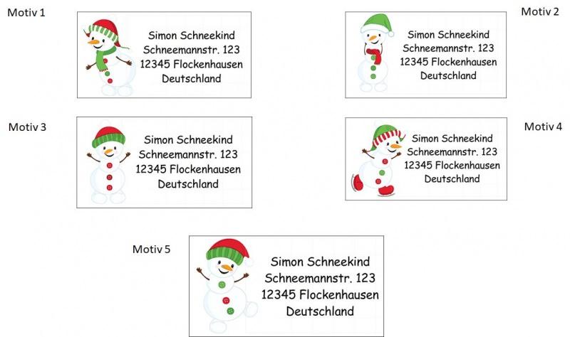 Kleinesbild - 40 Adressaufkleber mit Wunschadresse  Schneemann - für die Weihnachtspost (Kopie id: 31622)