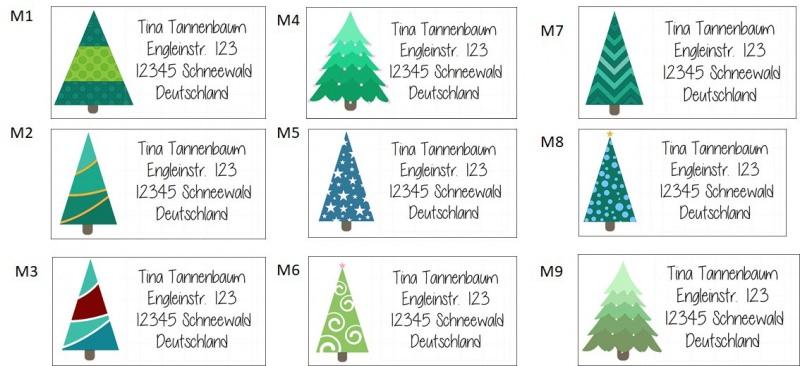 Kleinesbild - 40 Adressaufkleber mit Wunschadresse  Weihnachtsbaum Christbaum Weihnachtspost Weihnachtskarte