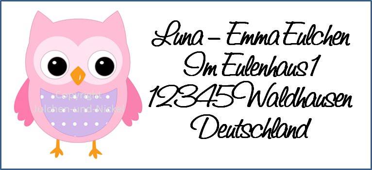 - 40 Adressaufkleber mit Wunschadresse  verliebte Eule - 40 Adressaufkleber mit Wunschadresse  verliebte Eule