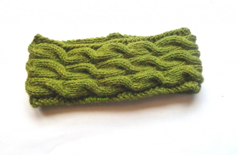 - Stirnband ★ olivgrün mit Zopfmuster - Stirnband ★ olivgrün mit Zopfmuster