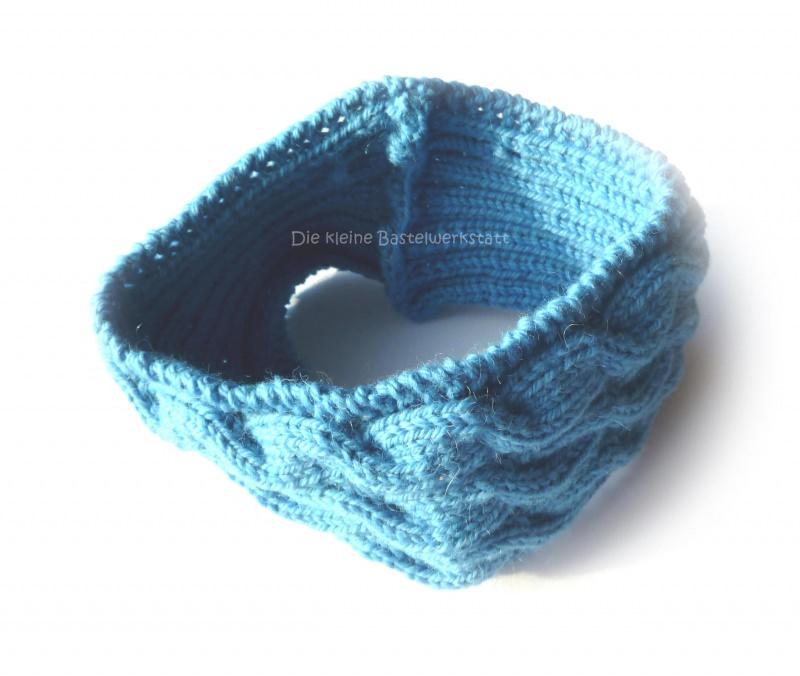 Kleinesbild - Stirnband ★ vergiss mein nicht (blau) mit Zopfmuster