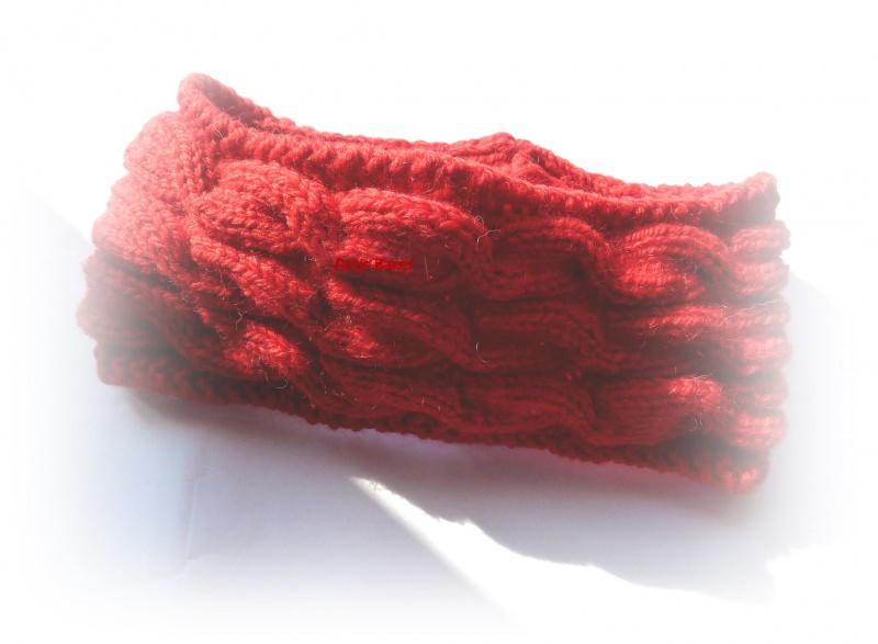 - Stirnband ★ rot mit Zopfmuster   - Stirnband ★ rot mit Zopfmuster
