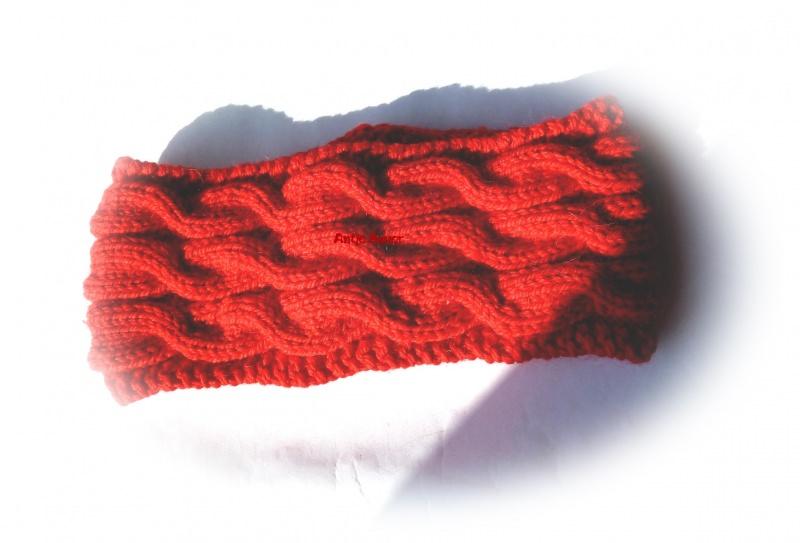 Kleinesbild - Stirnband ★ rot mit Zopfmuster