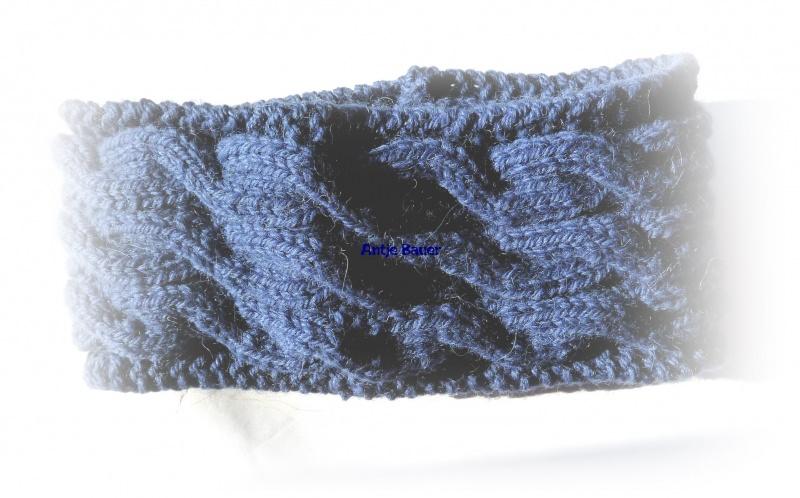 Kleinesbild - Stirnband ★ jeans-blau mit Zopfmuster