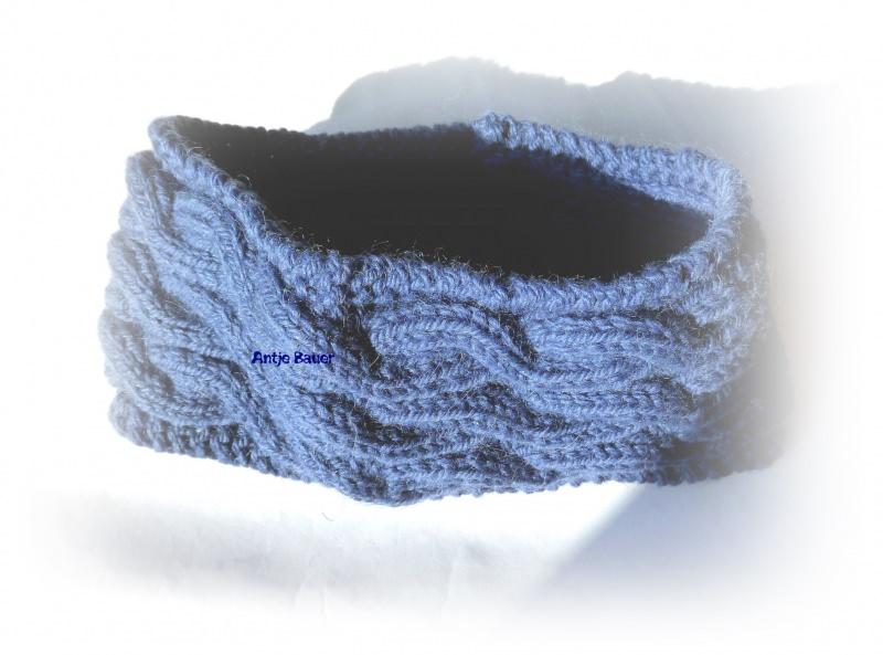 - Stirnband ★ jeans-blau mit Zopfmuster   - Stirnband ★ jeans-blau mit Zopfmuster