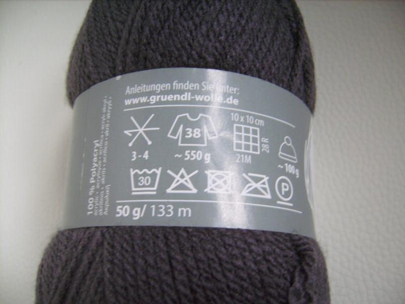 Kleinesbild - günstiges Strickgarn, Lisa premium Fb. 25, anthrazit, Nadelstärke 3-4, Polyacryl,