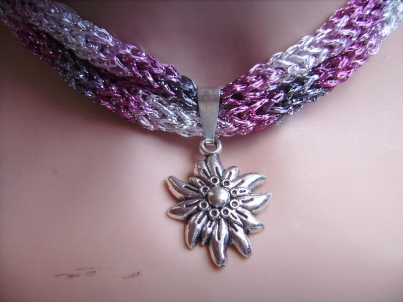 - Dirndlkette mit Magnetverschluß, handgearbeitet, rosa,grau,silber - Dirndlkette mit Magnetverschluß, handgearbeitet, rosa,grau,silber