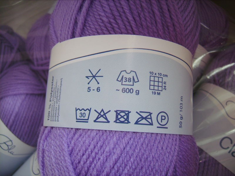 Kleinesbild - Strickgarn Clara Fb. 29, lila, 100%Polyester, Nd. 5-6