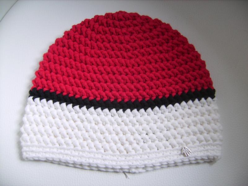 Kleinesbild - handgehäkelte Mütze aus Baumwollemischgarn,  rot/weiß, KU 52-56cm