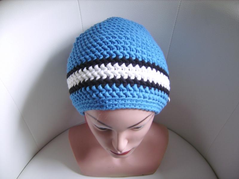 - handgehäkelte Mütze aus Baumwollemischgarn, blau/weiß, KU 52-56cm       - handgehäkelte Mütze aus Baumwollemischgarn, blau/weiß, KU 52-56cm