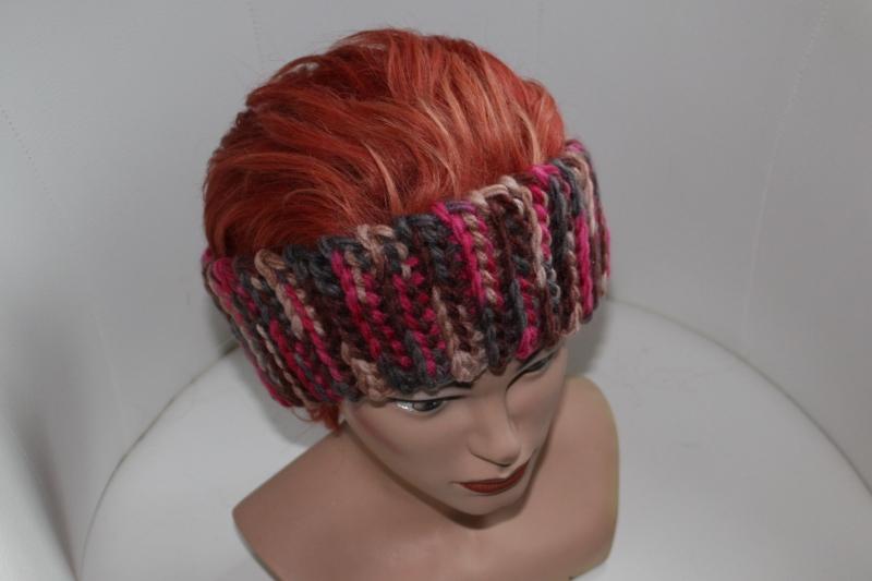 Kleinesbild - gehäkeltes Stirnband in bunt aus Handstrickgarn, KU >57 cm